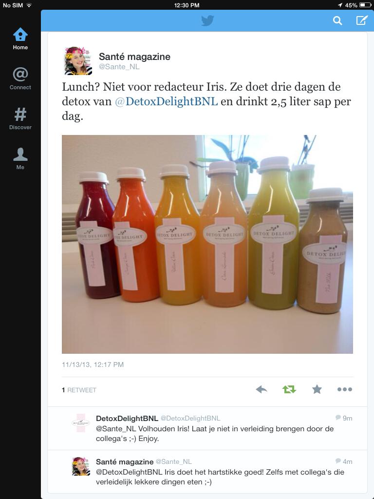 Iris van gezondheidsmagazine Sante deed de Juice Delight detox kuur