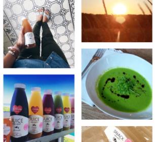 Detox Delight juices, green detox soup and sundowner
