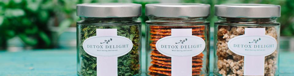 Chips de Kale, Crunchy Granola, Spicy Crackers - sans gluten et bio de Detox Delight.